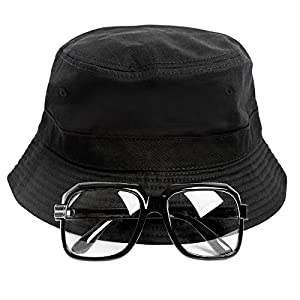 Gravity Trading 80s/90s Hip-Hop Costume Kit (Bucket Hat + Old School Squared Glasses)