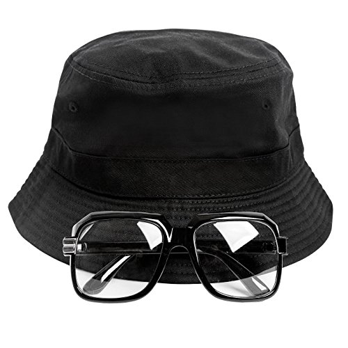 Gravity Trading 80s/90s Hip-Hop Costume Kit (Bucket Hat + Old School Squared Glasses) Black L/XL