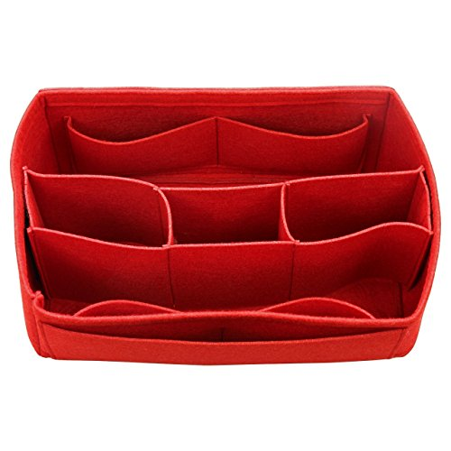 [Fits Neverfull MM / Speedy 30, Red] Felt Organizer (with Detachable Middle Compartments), Bag in Bag, Wool Purse Insert, Customized Tote Organize, Cosmetic Makeup Diaper Handbag Middle Insert
