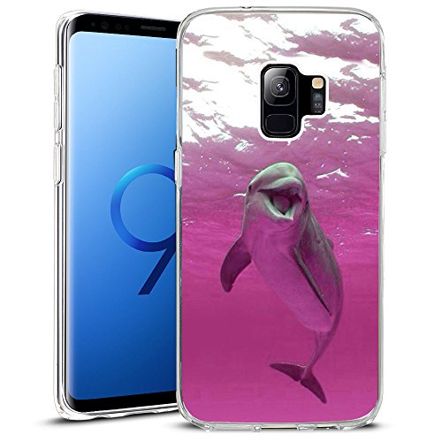 Pink Case Dolphin (For Samsung Galaxy S9 Case, Cover for Samsung Galaxy S9 2018 Release TPU Non-Slip High Definition Printing Pink dolphins)