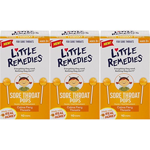 Little Remedies Sore Throat Pops | Made With Real Honey | Ages 3+ | 10 Pops | 3 Pack