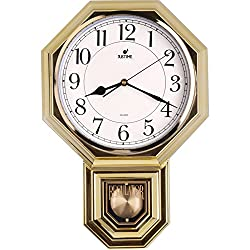 Traditional Schoolhouse Easy to Read Pendulum Plastic Wall Clock Chimes Every Hour With Westminster Melody Made in Taiwan, 4AA Batteries Included (PP0265-3W Gold Plating)