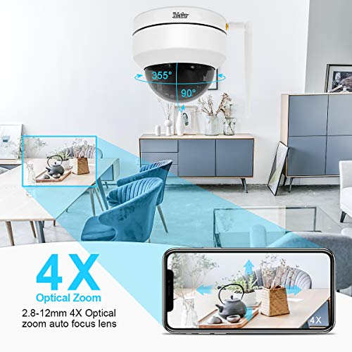 WiFi PTZ IP Dome Ceiling Indoor Security Surveillance Camera with 1080p 4X Optical Zoom Wireless Support ONVIF Protocol,IR Night Vision,RTSP and E-Mail Push Alerts