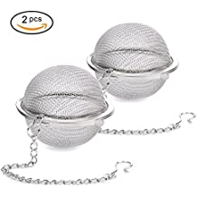 Siasky 2Pcs Stainless Steel Tea Ball, 2.1 Inch Mesh Tea Infuser Strainers, Premium Tea Filter Tea Interval Diffuser for Loose Leaf Tea and Seasoning Spices