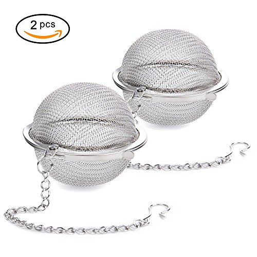 Siasky 2Pcs Stainless Steel Tea Ball, 2.1 Inch Mesh Tea Infuser Strainers, Premium Tea Filter Tea Interval Diffuser for Loose Leaf Tea and Seasoning Spices (Infuser Spice)