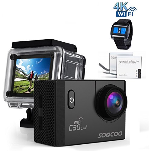 4k WIFI Sports Action Camera, SOOCOO C30R Action Camera Waterproof 20MP 170 Degree Wide Angle Sports Video Camera 2 LCD Screen/2.4G Remote Control/2x1350mAh Batteries (Micro SD Card Not Included)