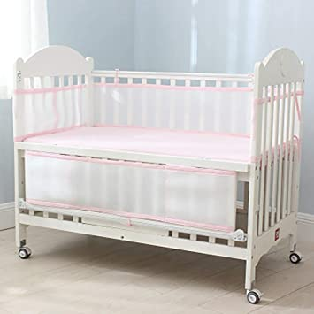 White and Pink Cloth Trim Washable Crib Padding Protector for Girl /& Boys Breathable Mesh Crib Liner Baby Safe Crib Nursery Bumper Pads 2 Pieces