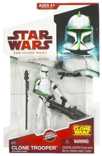 Green Clone - Star Wars 2009 Clone Wars Animated Action Figure Clone Trooper 41st Elite Corp (Green Deco)