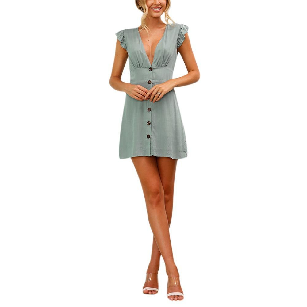 edd6a8864c1 Wingsenti Women s Summer Dress Spring Lotus Leaf Sleeve Mini Dress Fashion  Casual V Neck Buttons Dresses for Women at Amazon Women s Clothing store