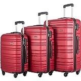 FLIEKS Luggages 3 Piece Luggage Set Spinner Suitcase (Red)