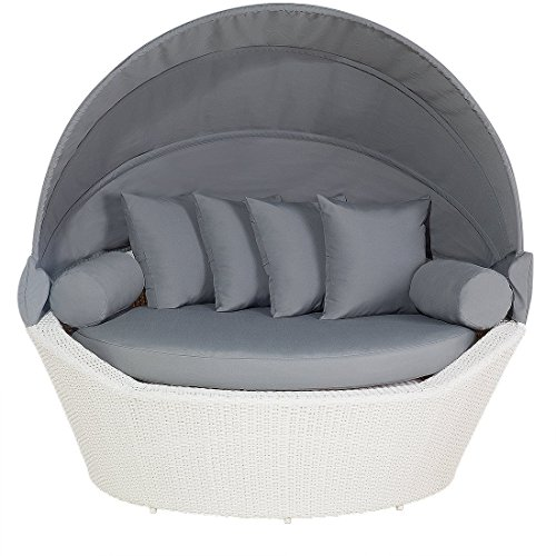 Outdoor Patio Canopy Bed Weather Resistant White Wicker Gray Cushions Sylt  sc 1 st  Canopy Bed .shop & Outdoor Canopy Beds u2013 CanopyBed.shop