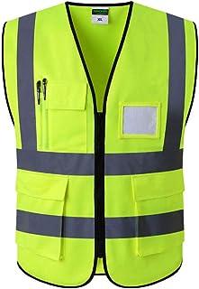 ChYoung Gilet di Sicurezza Anteriore con Cerniera ad Alta visibilità, Tasche Multiple, Gilet Riflettente, Abbigliamento da Lavoro Stradale L-2XL, Giallo Fluorescente