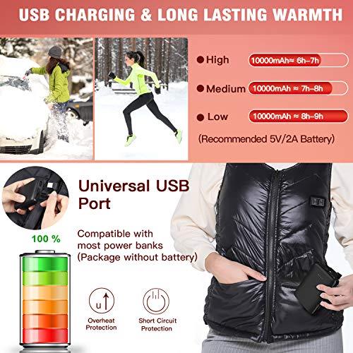 COZIHOMA USB Electric Heated Vest 2020 Upgrade Washable Heating Vest Clothing for Winter Skiing Hiking Motorcycle Travel Fishing Golf