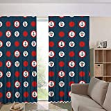 iPrint Bedroom/Living Room/Kids/Youth Room Curtain Panels,Drapes for Dining Room,Country Style,Steering Wheels Big Red Polka Dots Hearts Sea Love 108Wx84L Inch