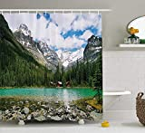 Shower Curtain Vs Shower Liner Jimmy P Landscape Shower Curtain Canada Ohara Lake Yoho National Park with Mountains Nature Scenery Art Photo Fabric Bathroom Decor Set with Hooks 60X72 inches