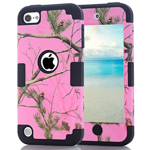 iPod Touch 6th Generation Camouflage Case, Hocase Heavy Duty Shockproof Hybrid Silicone Rubber Bumper+Hard Shell Protective Case for iPod Touch 5th/6th Generation - Pink/Black (Camo 5 Ipod Touch)