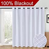 curtains for sliding glass doors RHF 100% Blackout,patio door curtains,Sliding Door Curtains,Linen Look,Wide Thermal Blackout Curtains,Grommet Curtains,Extra Wide Curtains for Sliding Glass Door,1Panel,100 X 84 White