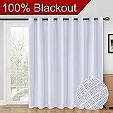 RHF 100% Blackout,patio door curtains,Sliding Door Curtains,Linen Look,Wide Thermal Blackout Curtains,Grommet Curtains,Extra Wide Curtains for Sliding Glass Door,1Panel,100 X 84 White
