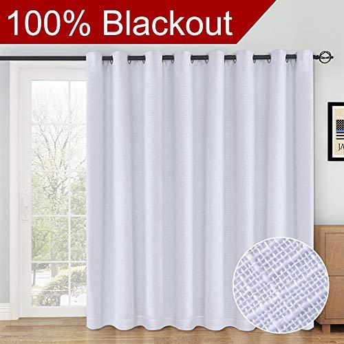RHF 100% Blackout,patio door curtains,Sliding Door Curtains,Linen Look,Wide Thermal Blackout Curtains,Grommet Curtains,Extra Wide Curtains for Sliding Glass Door,1Panel,100 X 84 White -