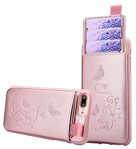 iPhone 8 Plus / iPhone 7 Plus Wallet Leather Case for Women, 3 Hidden Card Holder / ID Slots & Money Pocket, Butterfly Flower Cover - Rose Gold from WaterFox