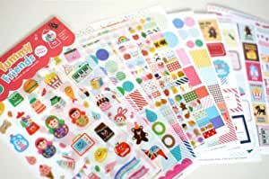 ONOR-Tech 12 Sheets Lovely Yummy Friends Decorative Adhesive Sticker Tape / Kids Craft Scrapbooking Sticker Set for Diary, Album