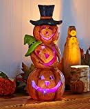 Friendly Glowing Lighted Jack O Lantern Stacked Pumpkin Table Top Home Accent Decor Haunted House Prop Autumn Fall Harvest Thanksgiving Country Decoration