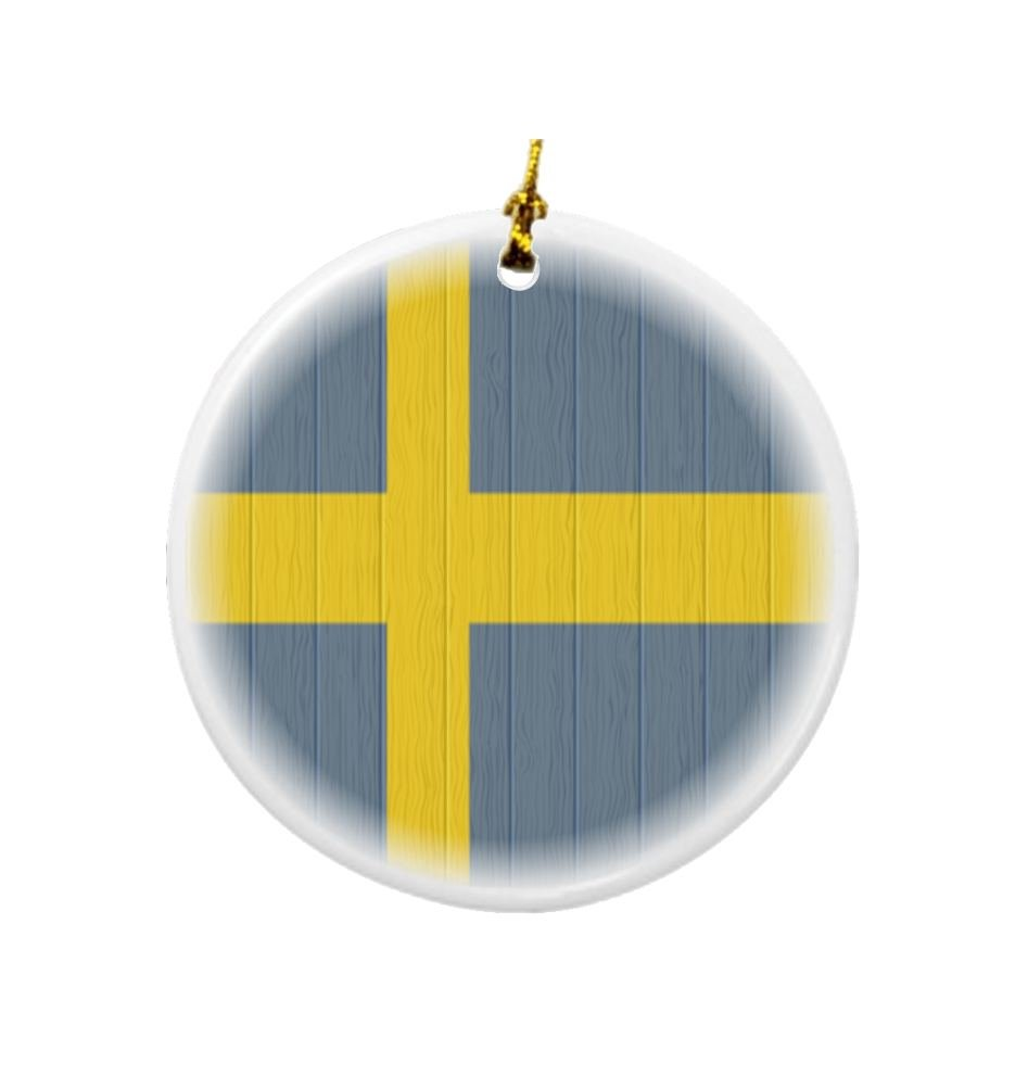 Rikki Knight Sweden Flag on Distressed Wood Design Round Porcelain Two-Sided Christmas Ornaments