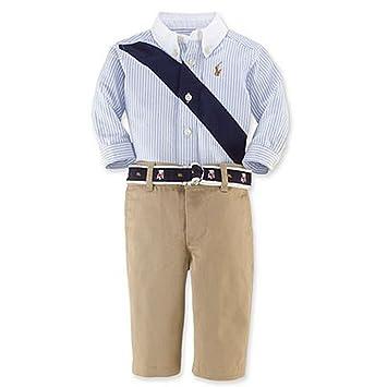 Amazon.com: Ralph Lauren niños Oxford Banner de rayas camisa ...