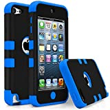 iPod Touch 5 Case, MagicMobile [Armor Shell Series] Double Layer Cover [Hard Shield] + [Flexible Silicone] Hybrid Case for Apple iPod 5th Generation [Impact Shock Resistant] / [ Black - Blue ]