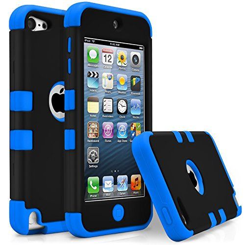 iPod Touch 5 Case, iPod Touch 6 Case, MagicMobile [Armor Shell Series] Double Layer Cover [Hard PC] + [Silicone] Hybrid Case for Apple iPod 5th Gen [Impact Shock Resistant] / [ Black - Blue ]