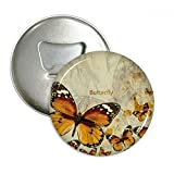 Butterfly in Autumn Wood Round Bottle Opener Refrigerator Magnet Badge Button 3pcs Gift