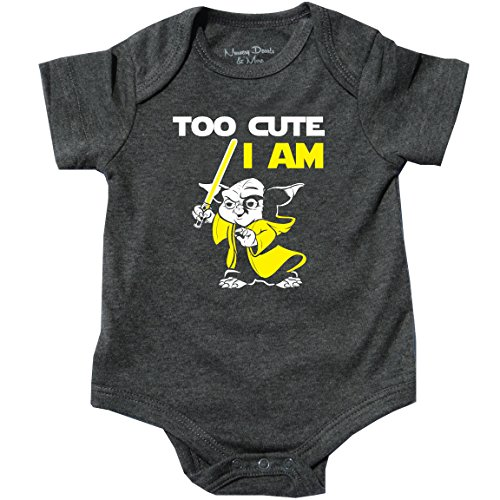 Too Cute I Am, Yoda Bodysuit, Star Wars Inspired, Spoof Yoda, Gray, 0-3 -