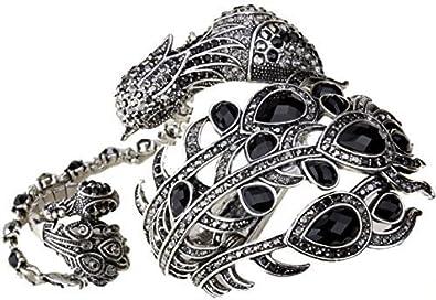 Loveangel Jewellery Women's Crystal Big Peacock Bracelet Slave Stretch Ring Set zarNYfm