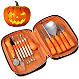#3: IBASETOY Halloween Pumpkin Carving Tools Kit, 13 Pieces Professional Pumpkin Carving Kit Includes Wooden Sculpture Knife, Easily Carve Jack-O-Lantern (with Storage Bag)