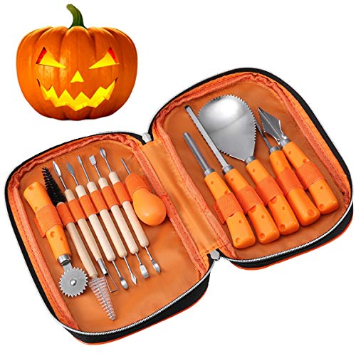 IBASETOY Halloween Pumpkin Carving Tools Kit, 13 Pieces Professional Pumpkin Carving Kit Includes Wooden Sculpture Knife, Easily Carve Jack-O-Lantern (with Storage Bag)