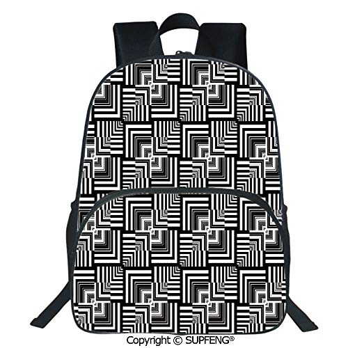 (SCOXIXI Laptop Backpack Geometric Op Art Pattern Unusual Checked Optical Illusion Effect Modern Decorative (15.75