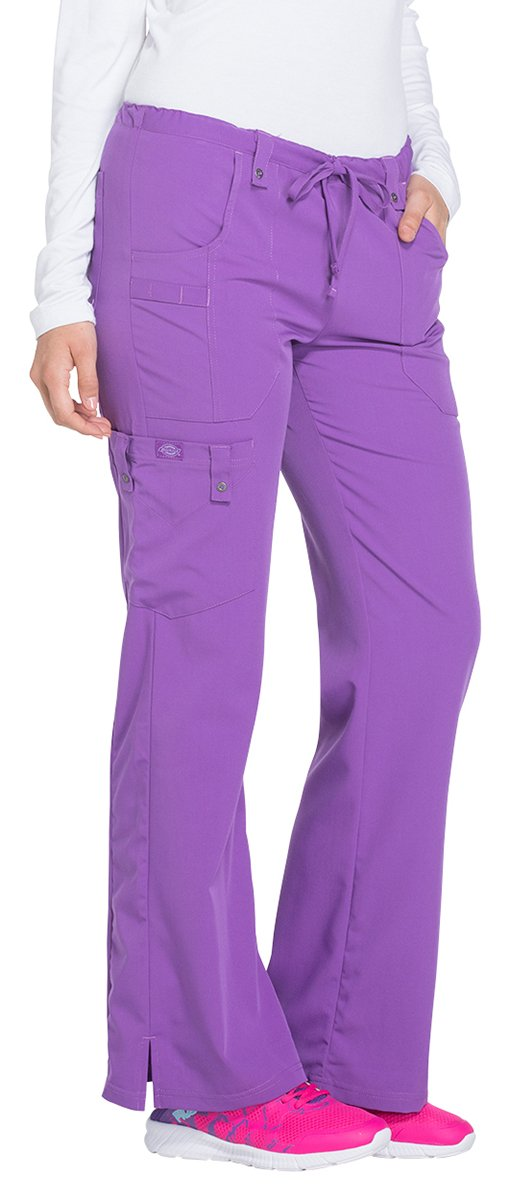 Dickies Women's Xtreme Stretch Fit Drawstring Flare Leg Pant, Purplicious, Medium