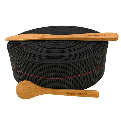 BambooMN Brand - Two-Inch Latex Elasbelt Webbing for Chair Repair - 40' Roll - Includes Bamboo Spice Spoon and Bamboo Spreader Replacement Upholstery