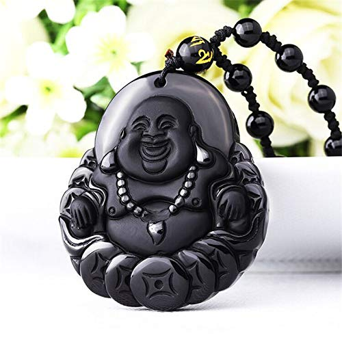 Natural Black Obsidian Carved Buddha Lucky Amulet Pendant Necklace for Women Men Pendant Fine Jewelry Healing Gift
