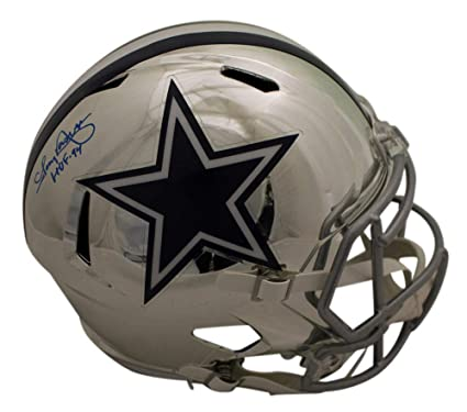 14811f1a2 Tony Dorsett Autographed/Signed Dallas Cowboys Replica Chrome Helmet HOF BAS