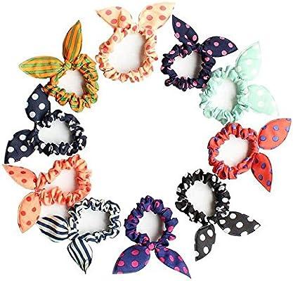 10 bandas elásticas de goma para el cabello, para niñas, con lazos ...