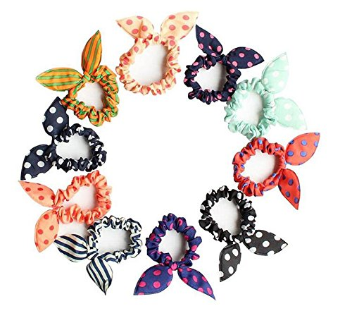 10PCS Rabbit Ear Hair Bands Bow Ties Ponytail Holder Elastic Cotton Stretch Hair Ties Hair Styling Tools Headband Scrunchie Hair Acdessories for Girls Toddlers for Girls and Toddlers (Color Random)
