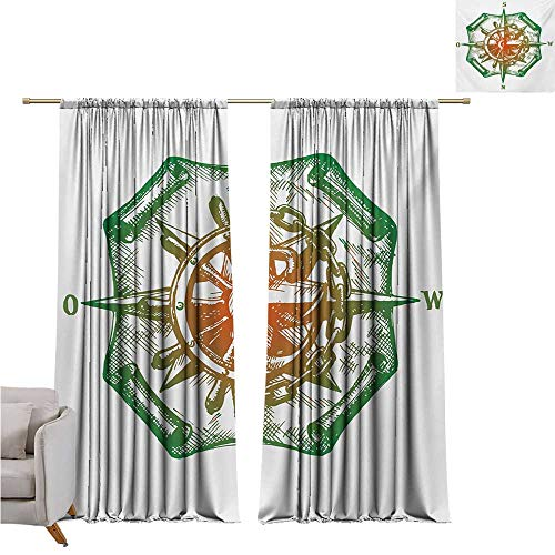 DESPKON-HOME Drapes/Draperies,Compass Retro Design Windrose with Anchor and Chains Marine Elements of Navigation Pattern Darkening Curtains (72W x 63L inch,Forest Green Red)