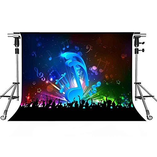 Music Stage Backdrop DJ Carnival Photography Background MEETS 10x7ft Themed Party Photo Booth YouTube Backdrop -