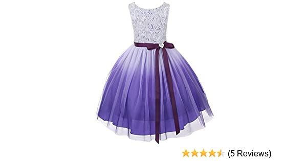 822f33ca0 Amazon.com: Purple Ombre Big Girls' Rosette Special Occasion Flower Girls  Dress Wedding: Clothing