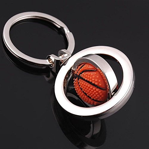 Phonphisai shop 3D Sports Rotating Basketball Keychain Keyring Key Chain Ring Key Fob Ball -