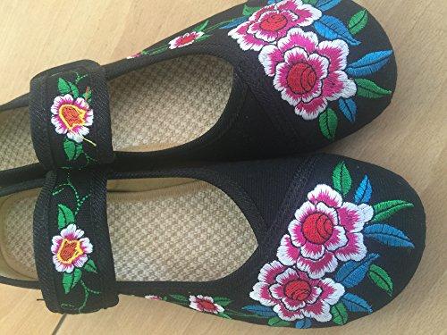 Bordados Bailarina Oxford La Jane de Florales De Negro Zapatos Planos Icegrey Las De Mary Mujeres YqvUEH