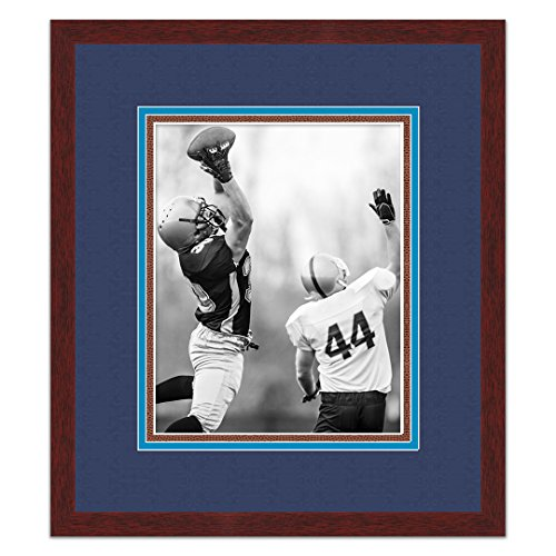 Tennessee Titans Brown Wood Frame for a 8x10 Photo with a Triple Mat - Navy , Titans Blue , and Football Textured Mats