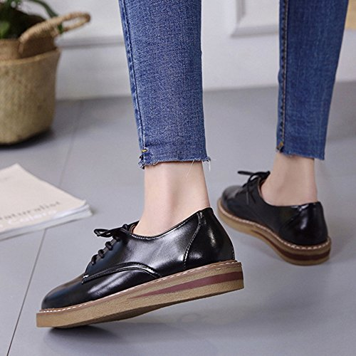 Low Shoes Oxfords JULY Casual Women's Toe Fashion Comfy Glossy Platform T Black Round Heel Shoes ZdCAqantCx