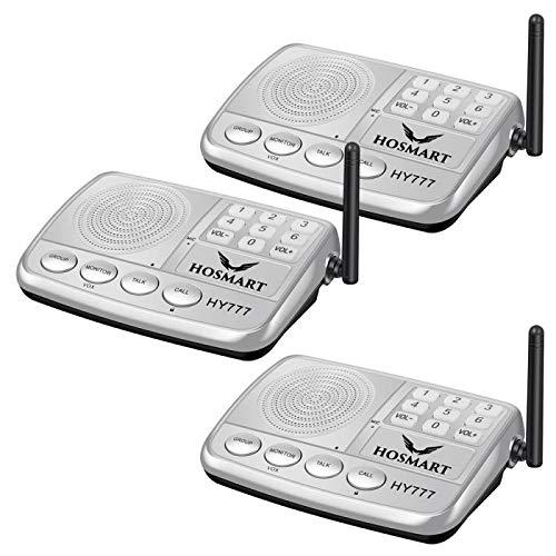 Wireless Intercom System Hosmart 1/2 Mile Long Range 7-Channel Security Wireless Intercom System for Home or Office (2018 New Version) [3 Stations Silver]